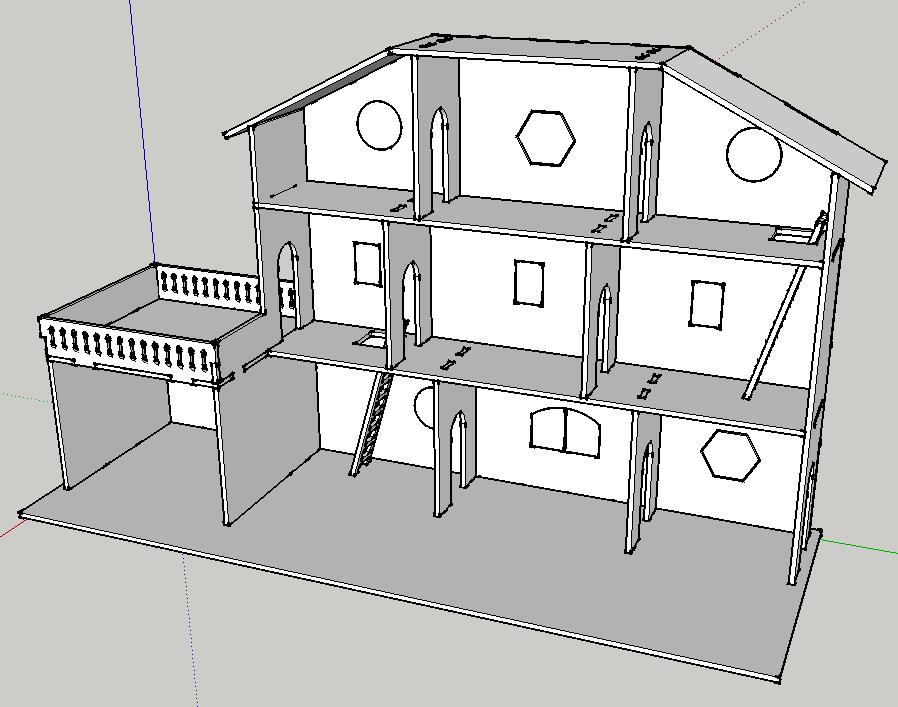 plan maison de poup e d coupe laser par mokozore sur l. Black Bedroom Furniture Sets. Home Design Ideas