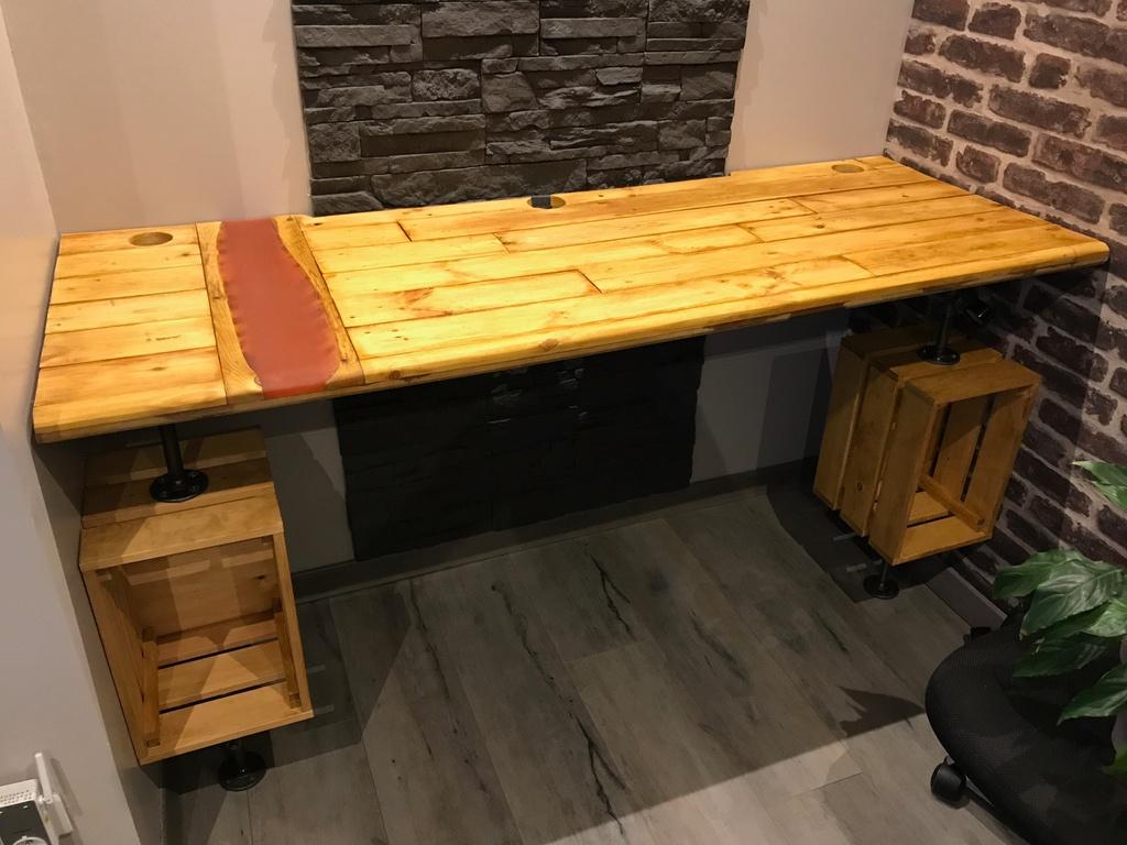 Que Faire Avec Des Palettes De Recuperation pas à pas] bureau sur mesure en bois de palettes résine