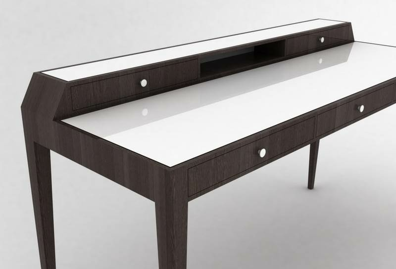 plan bureau moderne pi tement ch ne noirci plateau. Black Bedroom Furniture Sets. Home Design Ideas