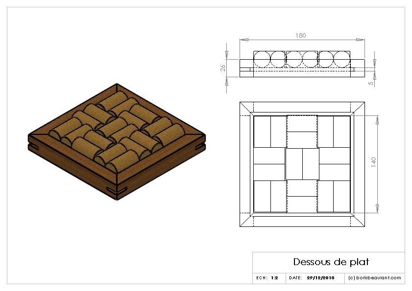plan dessous de plat en bouchons de li ge par boris beaulant sur l 39 air du bois. Black Bedroom Furniture Sets. Home Design Ideas