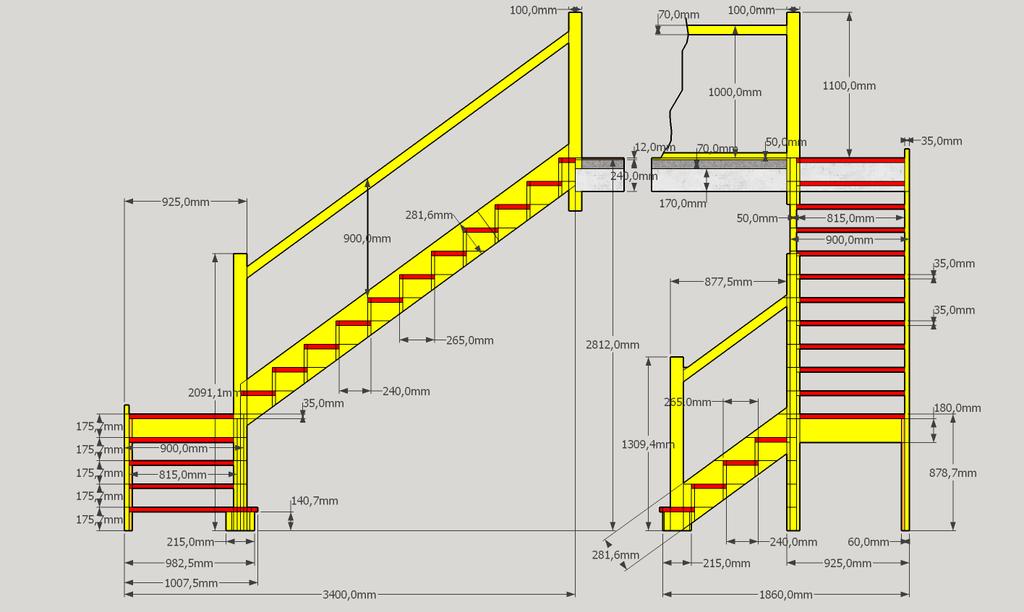 plan plan d 233 tude escalier droit a 2 vol 233 es par sylvainlefrancomtois sur l air du bois