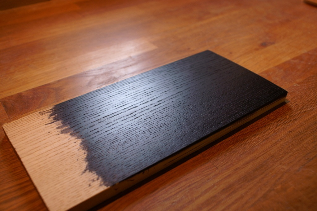 pas pas fabrication d 39 une table basse en fr ne teint. Black Bedroom Furniture Sets. Home Design Ideas