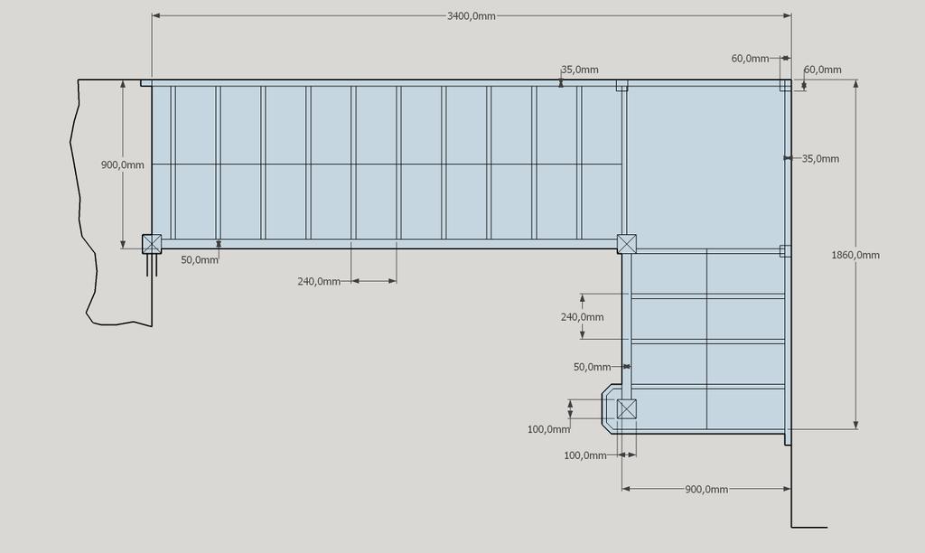 plan plan d tude escalier droit a 2 vol es par. Black Bedroom Furniture Sets. Home Design Ideas
