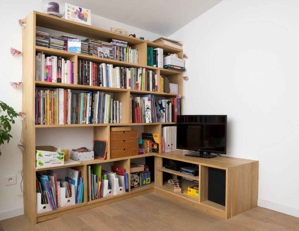 bibliotheque meuble tv d 39 angle par billbaroud sur l 39 air du bois. Black Bedroom Furniture Sets. Home Design Ideas