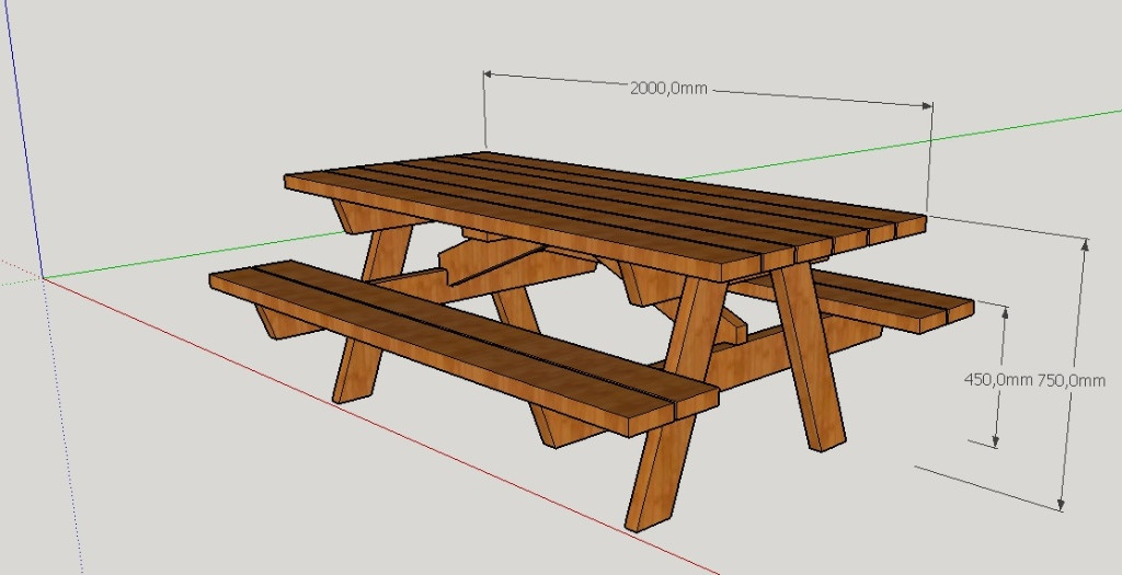 Plan table de pique nique par peiot sur l 39 air du bois for Plan table en bois
