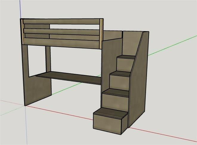 Plan lit mezzanine enfant par tacoule38 sur l 39 air du bois - Plan lit mezzanine en bois ...