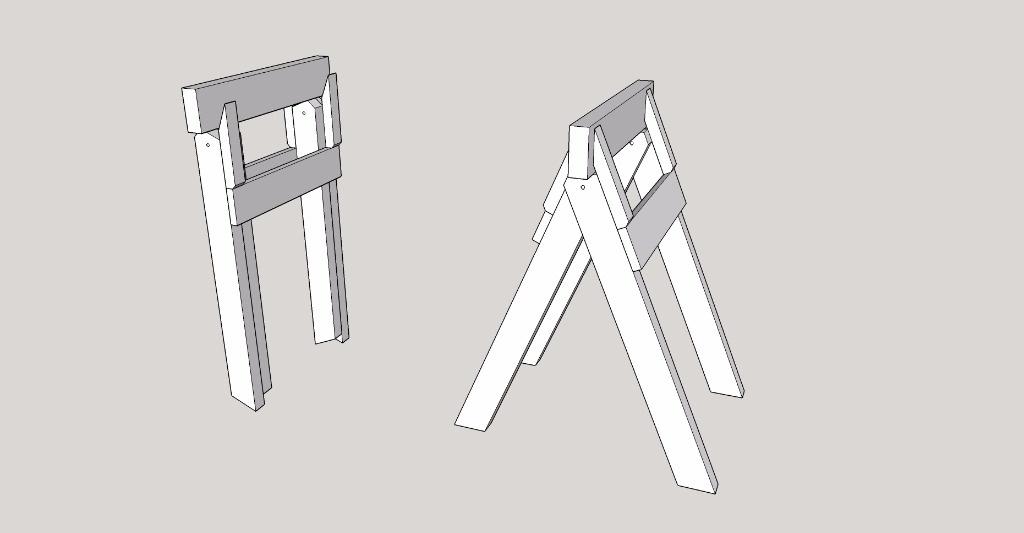 plan r flexion sur un syst me de tr teaux pliants par. Black Bedroom Furniture Sets. Home Design Ideas