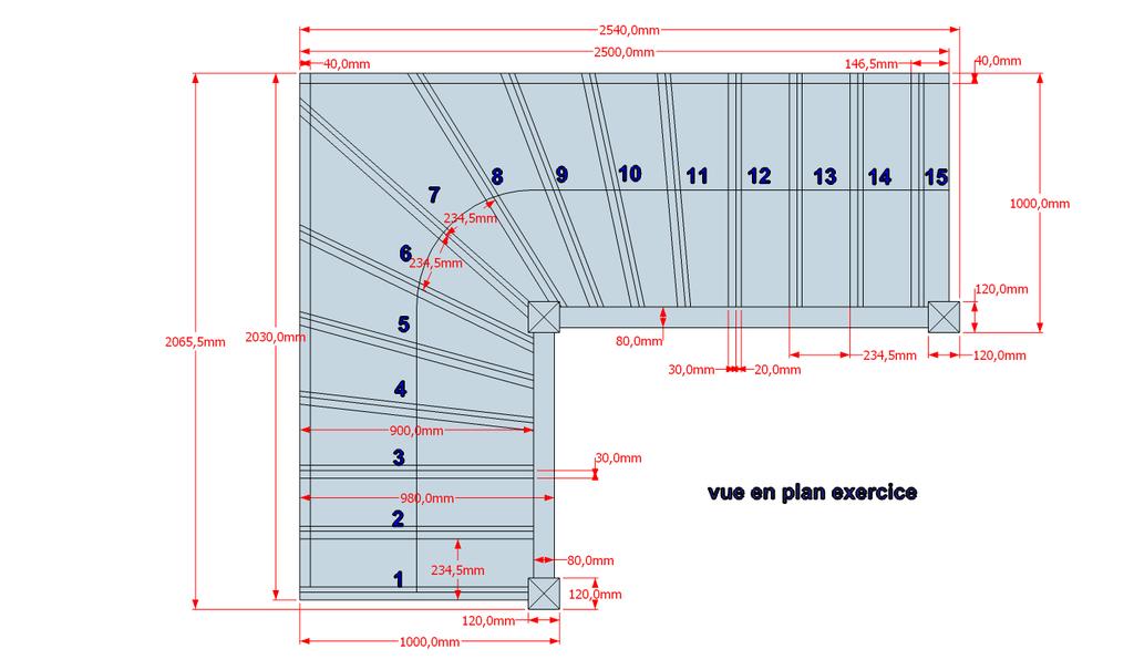 plan escalier exercice 2 par sylvainlefrancomtois sur l 39 air du bois. Black Bedroom Furniture Sets. Home Design Ideas
