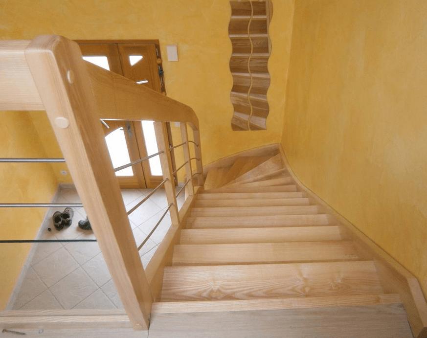 escalier bois sur escalier b ton par kajmed sur l 39 air du bois. Black Bedroom Furniture Sets. Home Design Ideas