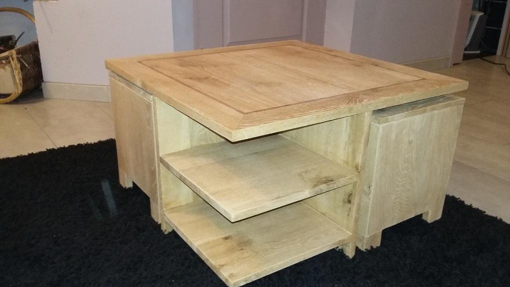 Table basse avec poufs par ch nedinspiration sur l 39 air du bois - Table basse avec poufs integres ...