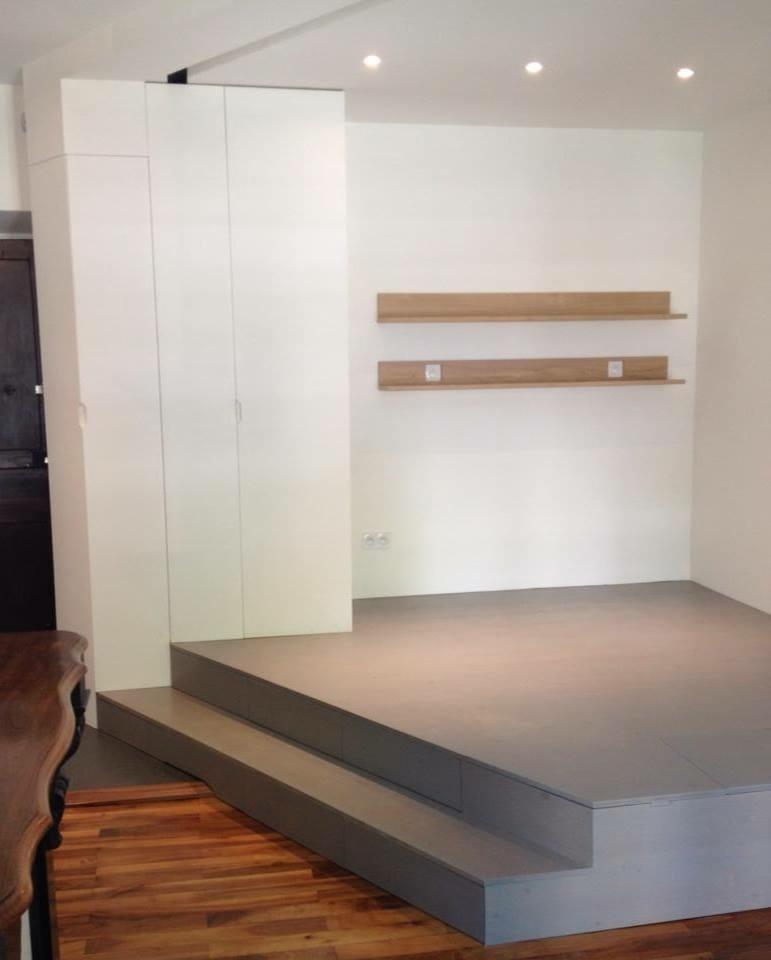 Estrade 3 plis tag res et bureau massif par mtown sur l 39 air du bois - Estrade en bois pour lit ...