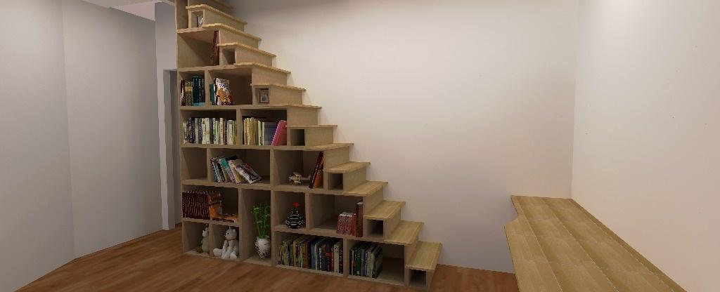 escalier biblioth que par s bastien dehut sur l 39 air du bois. Black Bedroom Furniture Sets. Home Design Ideas