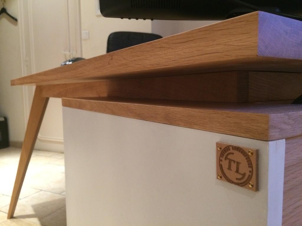 Bureau en chêne et laque blanche de style scandinave par txintxo
