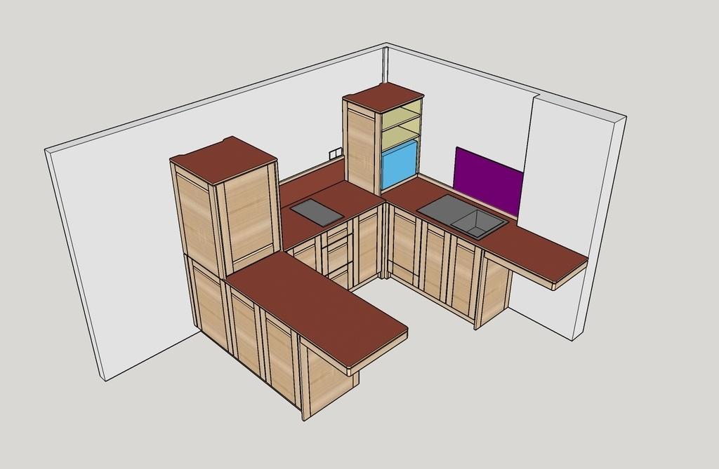 Plan la petite cuisine en fr ne par boris beaulant sur l 39 air du bois - Plan petite cuisine ouverte ...