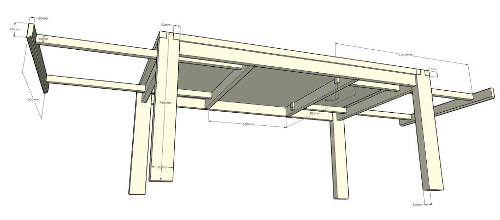 Plan table salle a manger par pp88 sur l 39 air du bois for Fabriquer table salle manger bois