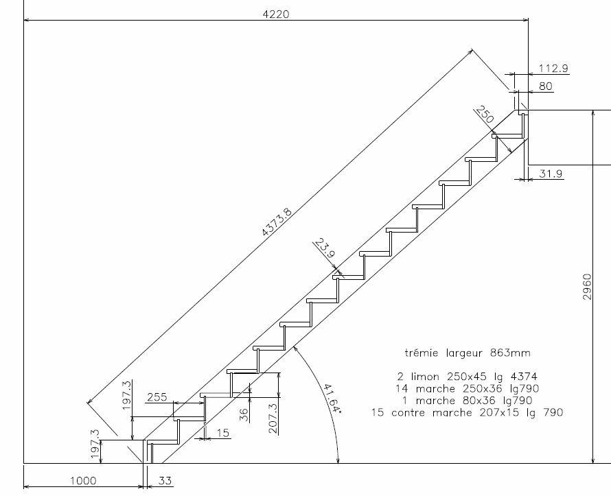 plan escalier droit avec contremarches par zebulette sur. Black Bedroom Furniture Sets. Home Design Ideas