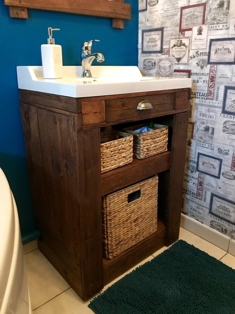 Meuble vasque en bois de palettes par YMtheWood sur L\'Air du Bois