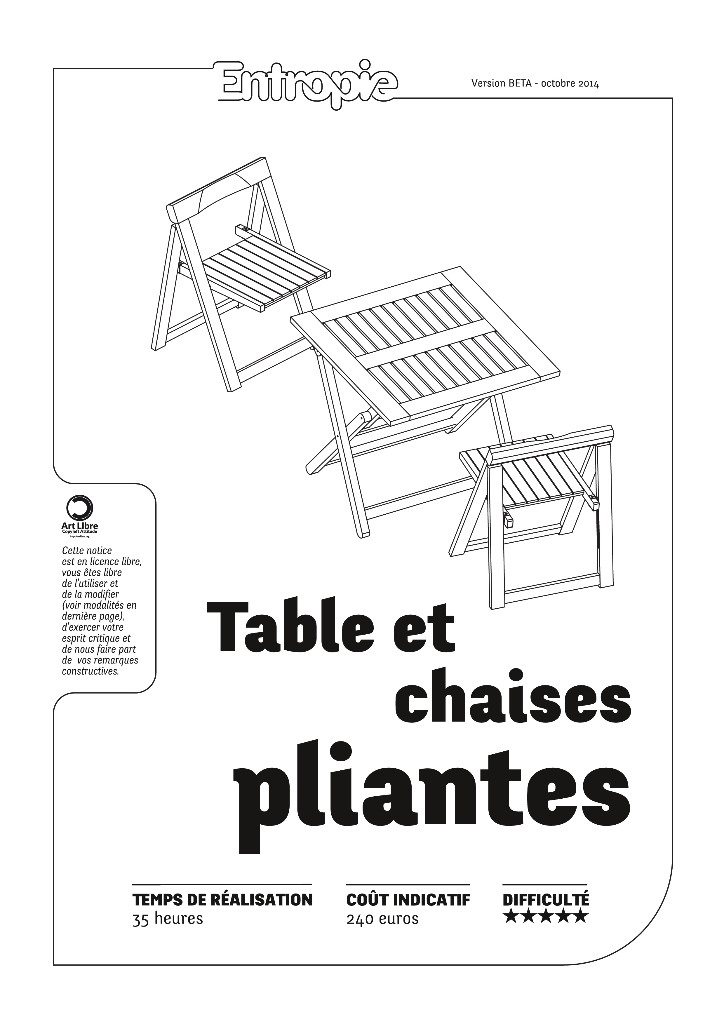 plan tables et chaises pliantes entropie par entropie sur l 39 air du bois. Black Bedroom Furniture Sets. Home Design Ideas