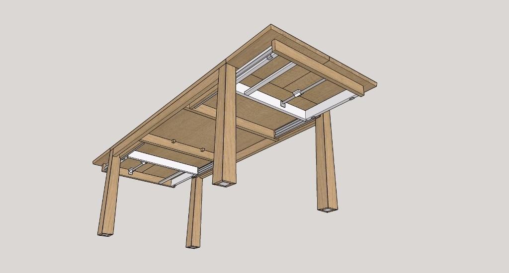 pas pas fabrication d 39 une table de s jour allonges tiroirs par boris beaulant sur l 39 air du. Black Bedroom Furniture Sets. Home Design Ideas