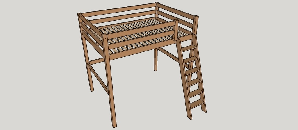 Plan lit mezzanine par nico39 sur l 39 air du bois - Plan lit mezzanine en bois ...