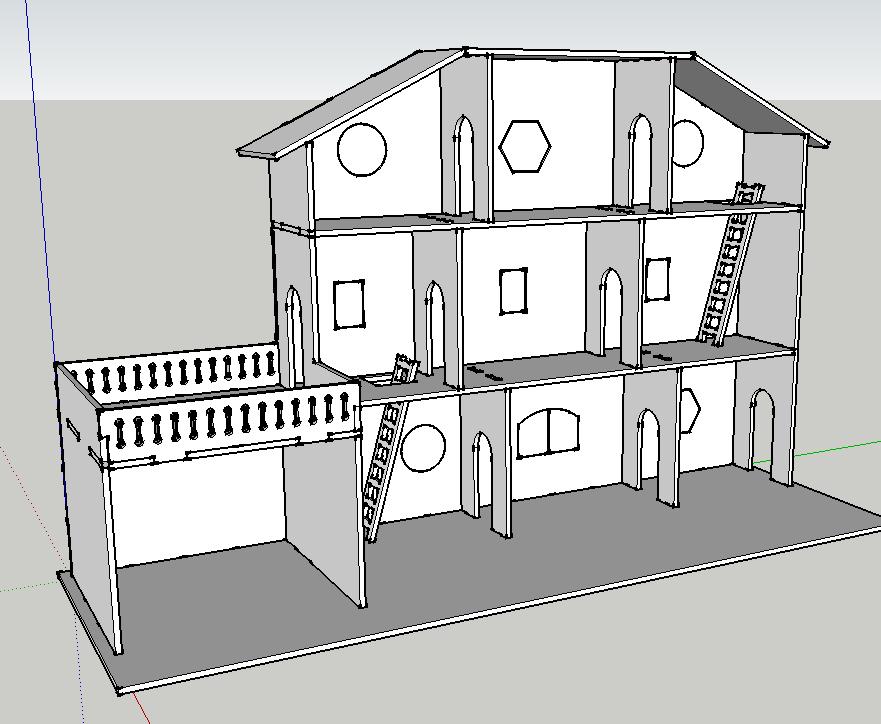 plan maison de poup e d coupe laser par mokozore sur l 39 air du bois. Black Bedroom Furniture Sets. Home Design Ideas