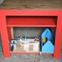 Etabli pour enfant avec banc intégré et caisse à outils