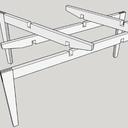Table structure frêne et plateau verre