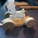 Lapin en bois à tirer pour enfant