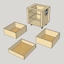 Vue du meuble et des tiroirs