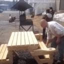 2-en-1 une table banc
