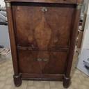Avant restauration (placage éclaté et bois fendu un peut partout, cuire intérieure hs)