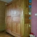 Armoire en merisier, portes coulissantes