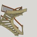 Plan d étude pratique d escalier une volée demi tournant à gauche rampe sur rampe