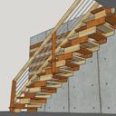 Escalier droit contemporain , sans épure ni tracé
