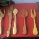 Cuilière en bois et couteau