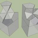 Première version, toutes les surfaces se rejoignent au point central.