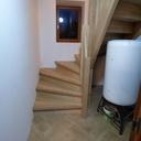 Escalier double quart tournant en chêne