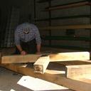 Mise sur ligne et picage des pièces de bois de faîtage, sous-faîtage et croix de St-André