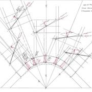 élévation de chaque portion de courbe avec tangente int et ext, mise en place des sections d'équerre à la normale sur la vue en plan en rouge