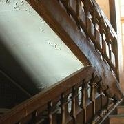 rampe en bois  à balustres chantournés rampants