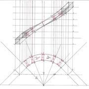 élévation déterminée par les sections rouges et les sections verticales bleues dans les parties droites