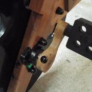 pédales et manivelles sont en bois et montées sur axe de 17mm et  sur paliers