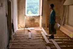 Plancher bois isolé aux copeaux
