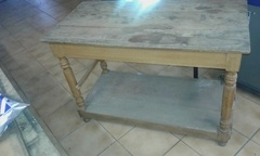 Table haute transformée en table basse