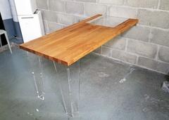 Table en bois et plexiglas finition huile de tournesol