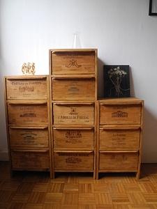 Colonnes de caisses de vin. Upcycling!
