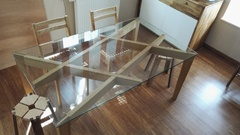 Table Frêne et plateau verre
