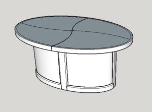 Table basse elliptique