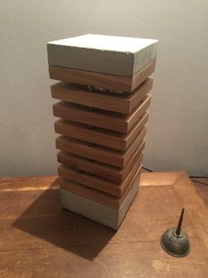 Lampe bois beton