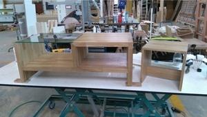 Table basse en chêne plus tabouret